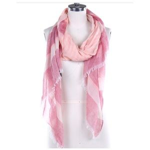 Large striped pink scarf NWT